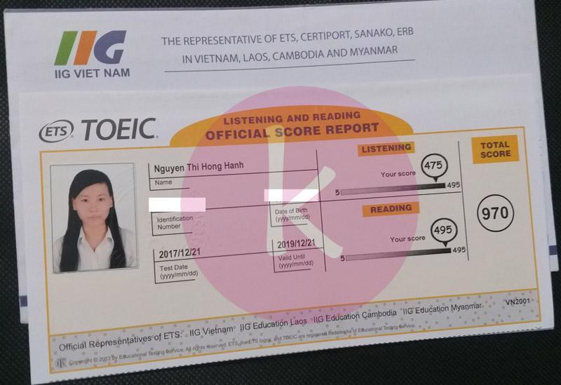 Bảng điểm thi TOEIC Ms. Hạnh