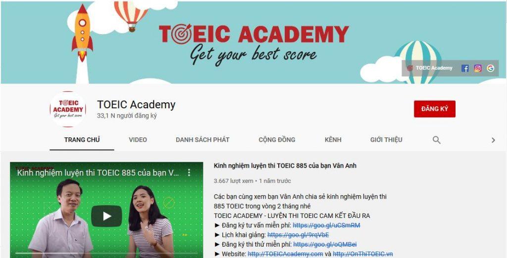 kênh youtube luyện thi toeic Academy