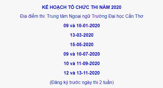 Lịch Thi TOEIC Cần Thơ 2020