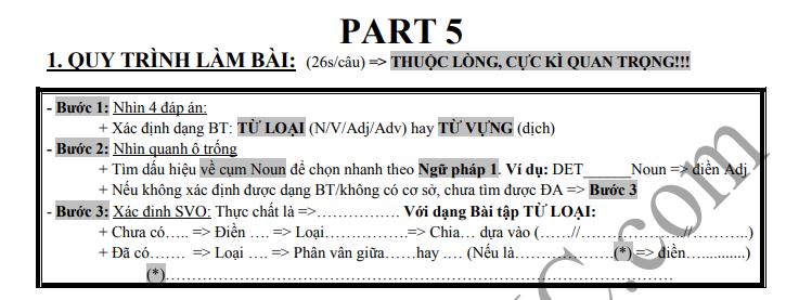 Quy trình làm Part 5 TOEIC được trình bày trong Video bài giảng bên dưới