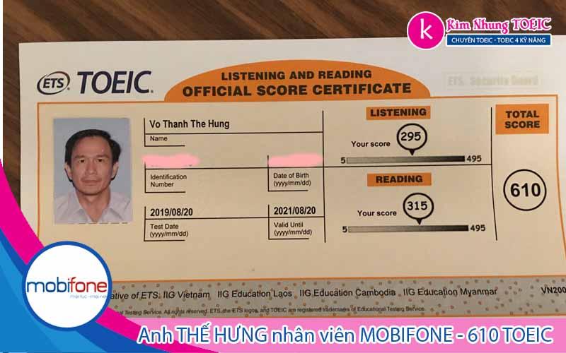 Bảng Điểm TOEIC 650 - Anh Hưng Mobifone