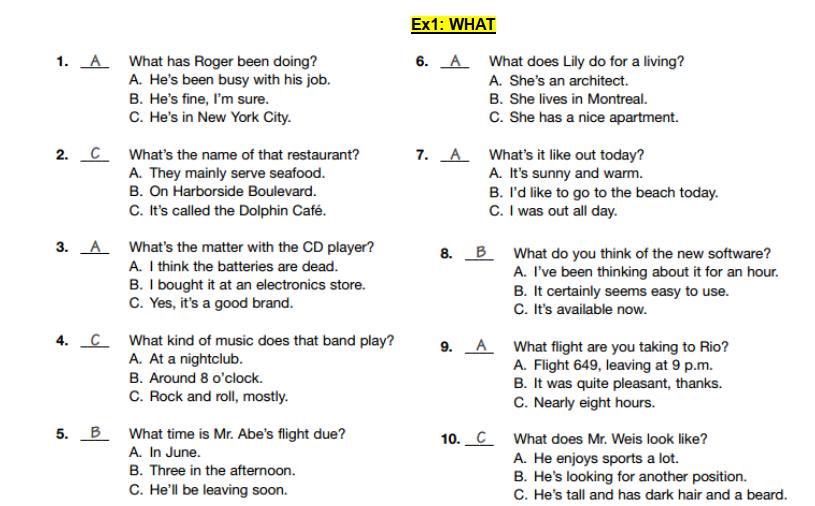 Đáp án và lời thoại luyện nghe TOEIC Part 2 câu hỏi What