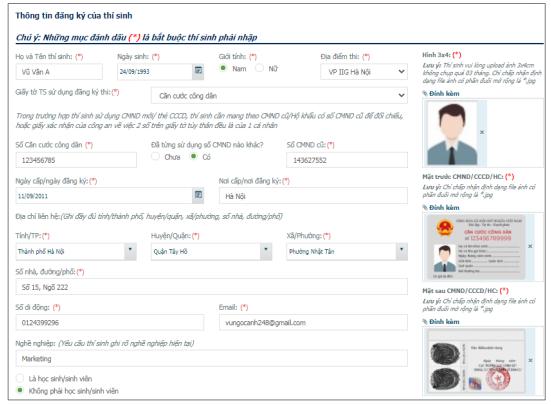 Điền thông tin đăng ký vào Form