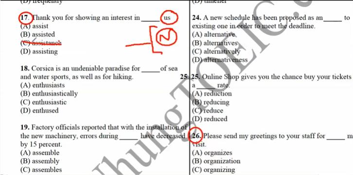 Loại áp đán sai khi làm dạng câu hỏi điền vào chỗ trống Part 5